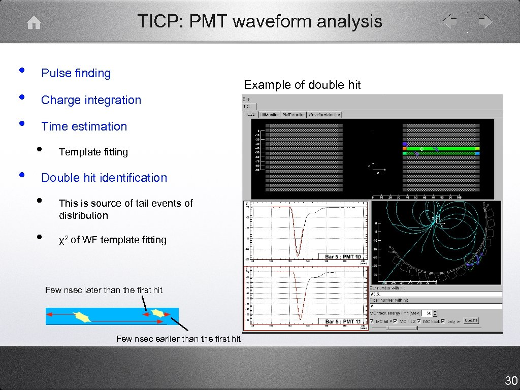 TICP: PMT waveform analysis • • • Pulse finding Charge integration Time estimation •