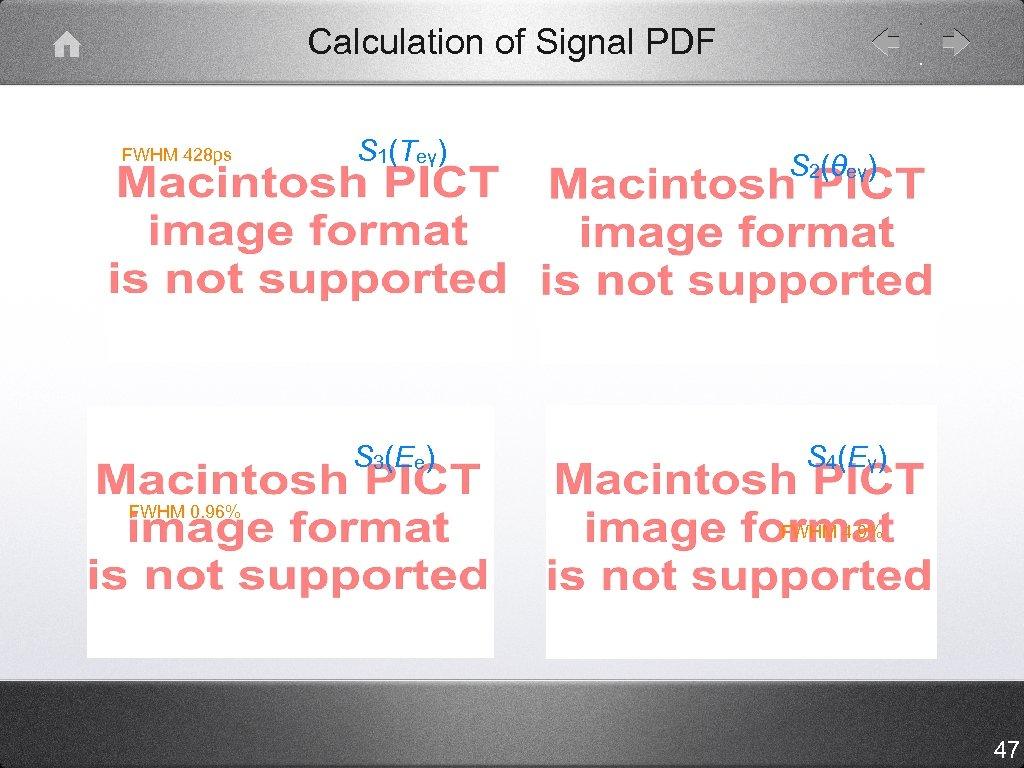 Calculation of Signal PDF FWHM 428 ps S 1(Teγ) S 3(Ee) FWHM 0. 96%