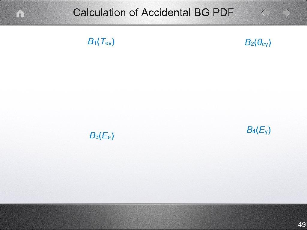 Calculation of Accidental BG PDF B 1(Teγ) B 3(Ee) B 2(θeγ) B 4(Eγ) 49
