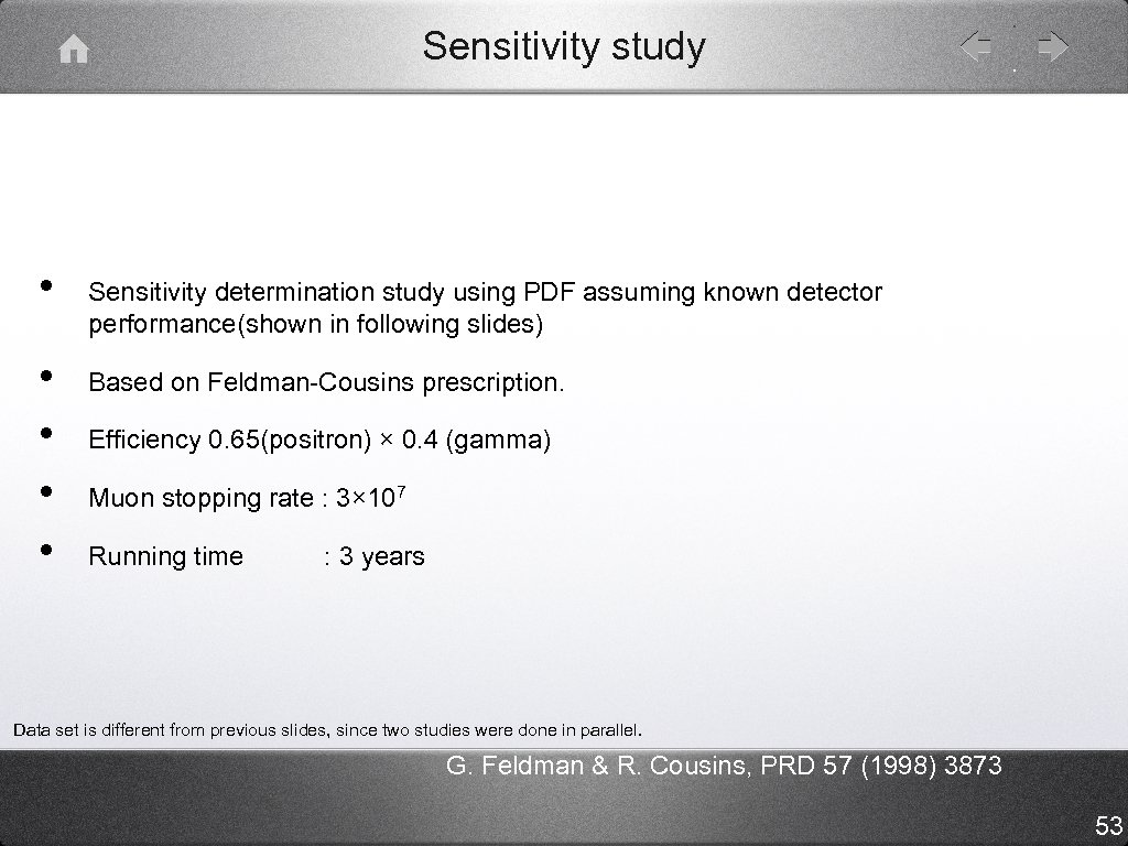 Sensitivity study • • • Sensitivity determination study using PDF assuming known detector performance(shown