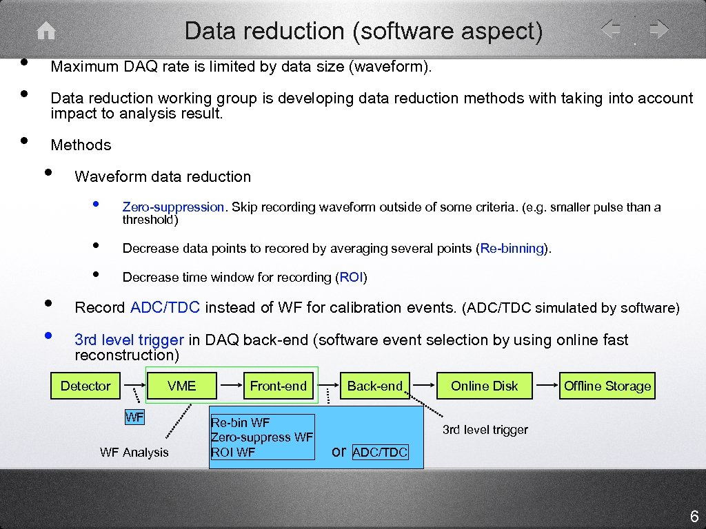 Data reduction (software aspect) • • • Maximum DAQ rate is limited by data