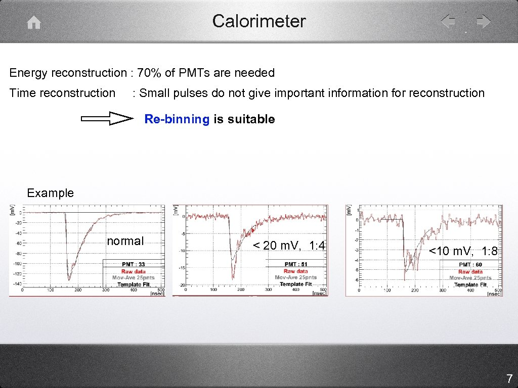 Calorimeter Energy reconstruction : 70% of PMTs are needed Time reconstruction : Small pulses