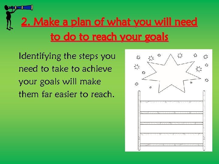 2. Make a plan of what you will need to do to reach your