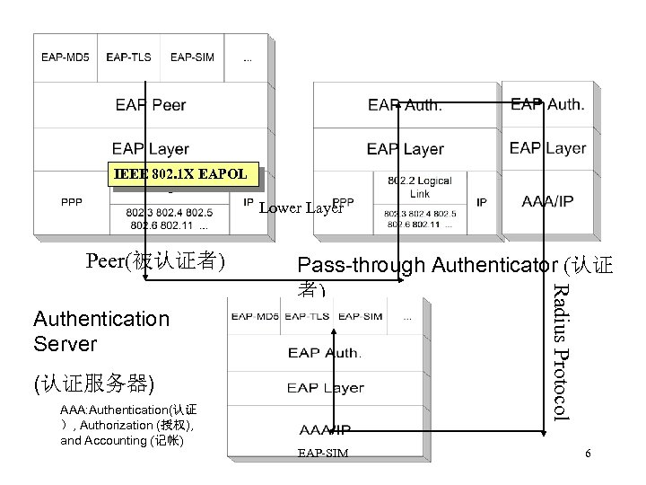 IEEE 802. 1 X EAPOL Lower Layer Peer(被认证者) Radius Protocol Pass-through Authenticator (认证 者)