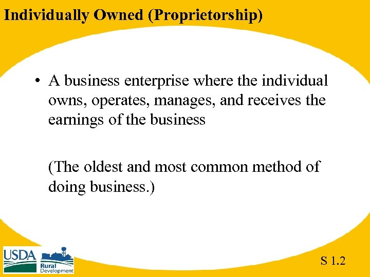 Individually Owned (Proprietorship) • A business enterprise where the individual owns, operates, manages, and