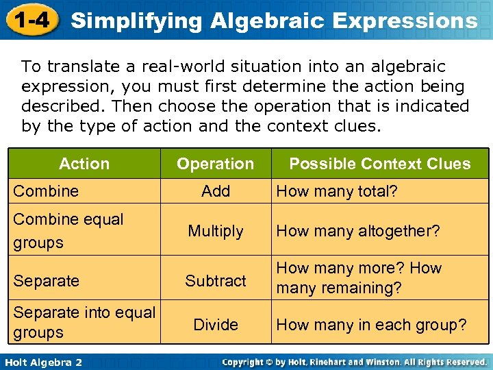 1 -4 Simplifying Algebraic Expressions To translate a real-world situation into an algebraic expression,
