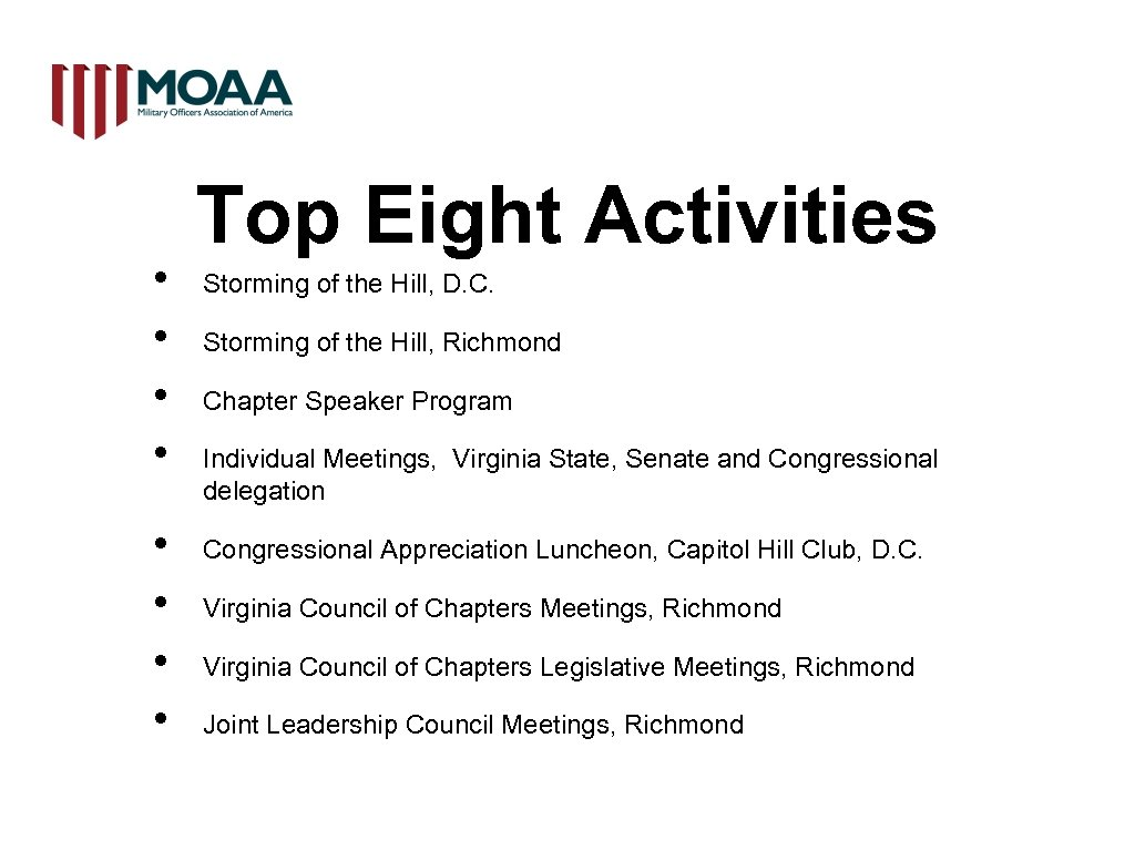 • • Top Eight Activities Storming of the Hill, D. C. Storming of