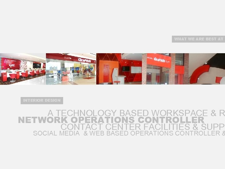 WHAT WE ARE BEST AT INTERIOR DESIGN A TECHNOLOGY BASED WORKSPACE & R NETWORK