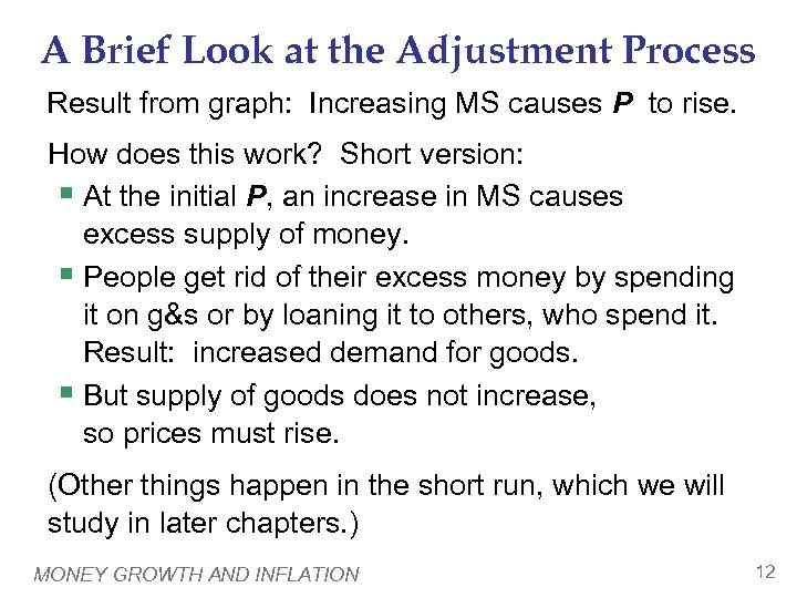 A Brief Look at the Adjustment Process Result from graph: Increasing MS causes P