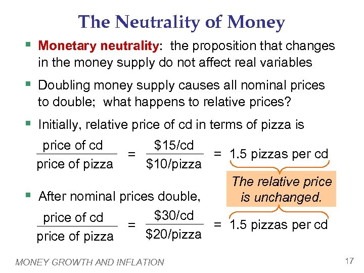 The Neutrality of Money § Monetary neutrality: the proposition that changes in the money