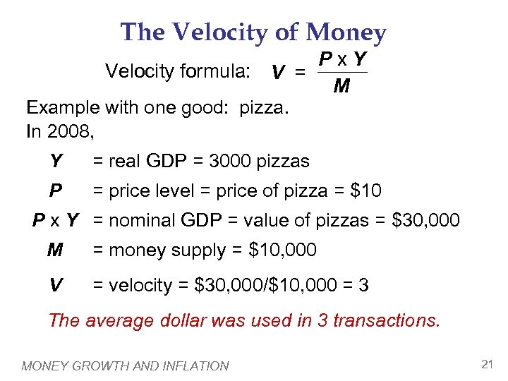 The Velocity of Money Px. Y Velocity formula: V = M Example with one