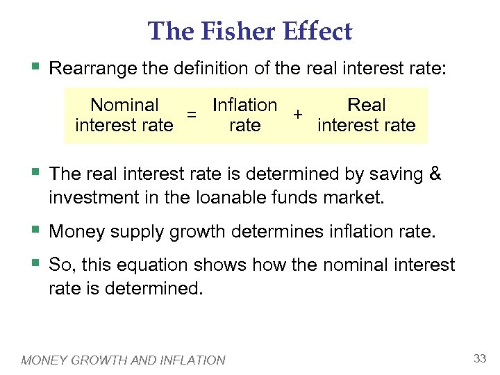 The Fisher Effect § Rearrange the definition of the real interest rate: Nominal Real