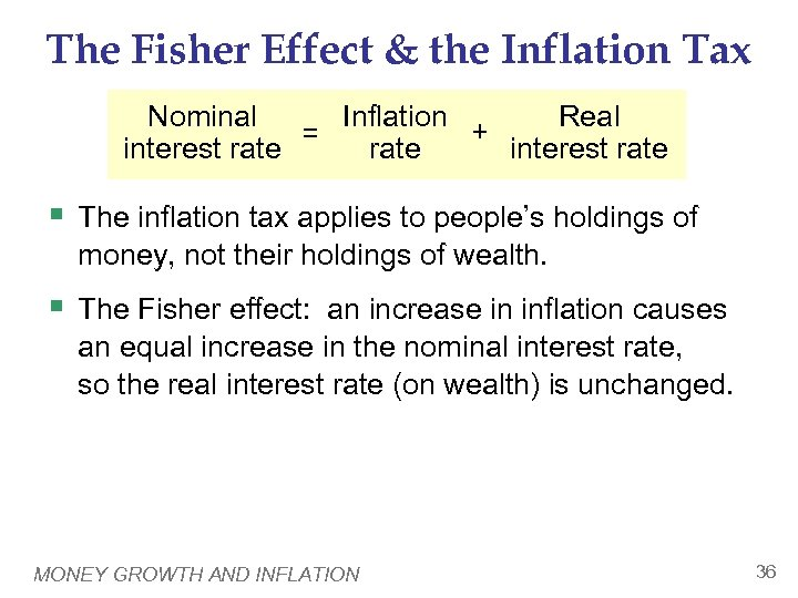 The Fisher Effect & the Inflation Tax Nominal Real Inflation + = interest rate