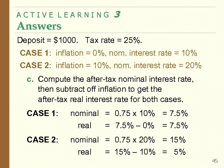 ACTIVE LEARNING Answers 3 Deposit = $1000. Tax rate = 25%. CASE 1: inflation