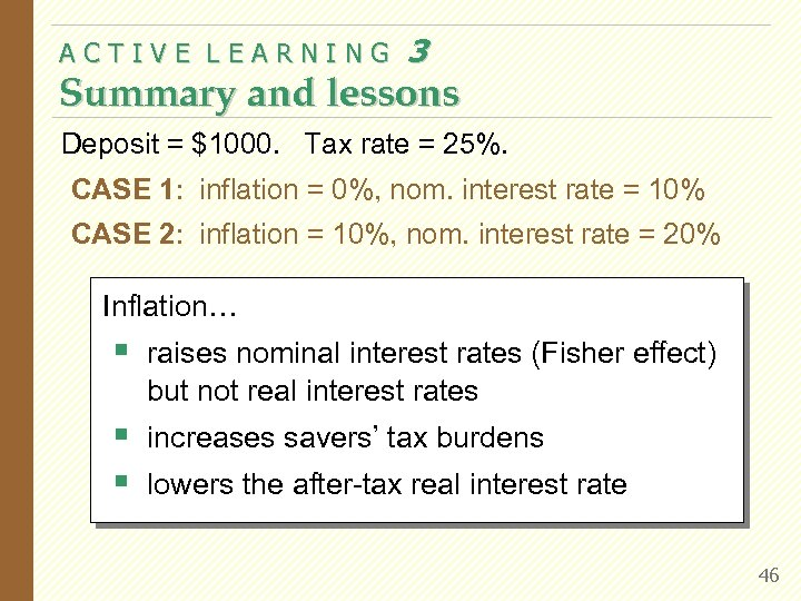 ACTIVE LEARNING 3 Summary and lessons Deposit = $1000. Tax rate = 25%. CASE