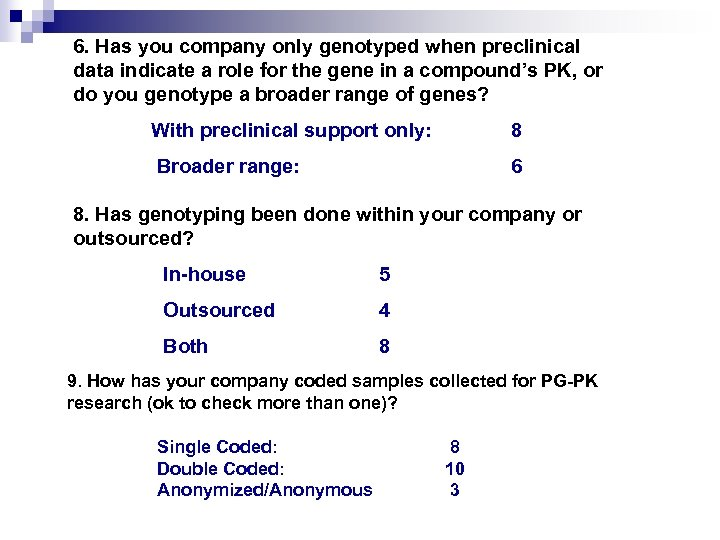 6. Has you company only genotyped when preclinical data indicate a role for the