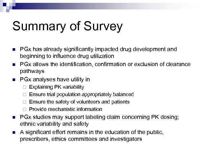 Summary of Survey n n n PGx has already significantly impacted drug development and