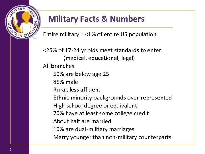 Military Facts & Numbers 5 Entire military = <1% of entire US population <25%
