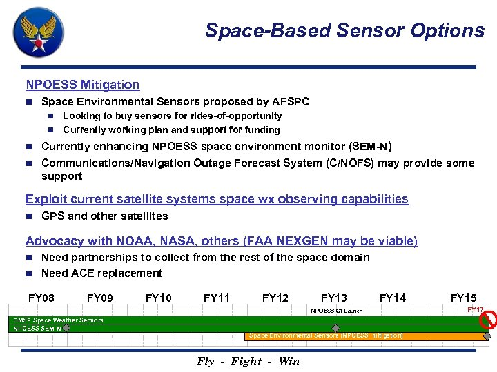 Space-Based Sensor Options NPOESS Mitigation n Space Environmental Sensors proposed by AFSPC Looking to