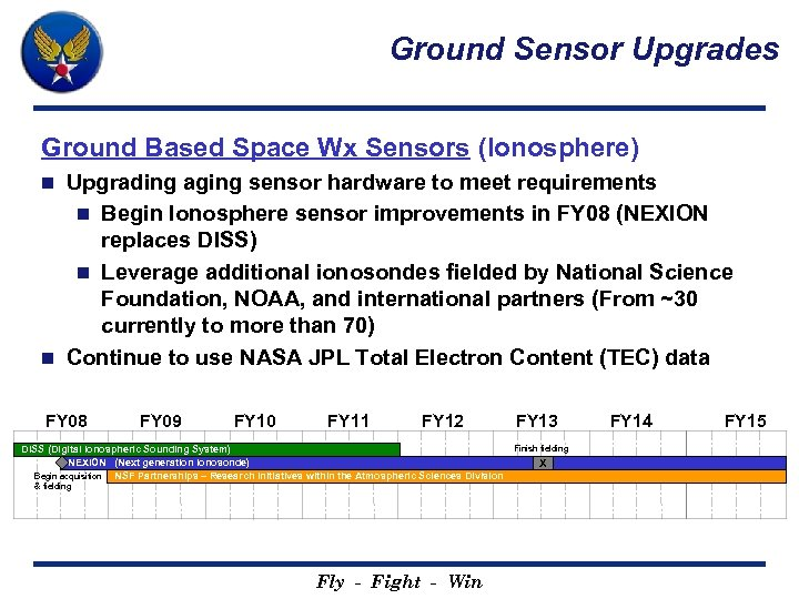 Ground Sensor Upgrades Ground Based Space Wx Sensors (Ionosphere) Upgrading aging sensor hardware to