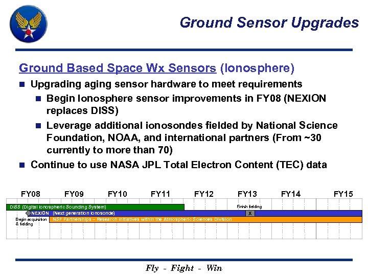 Ground Sensor Upgrades Ground Based Space Wx Sensors (Ionosphere) Upgrading aging sensor hardware to