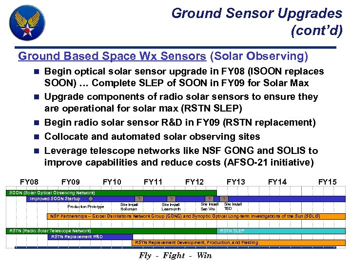 Ground Sensor Upgrades (cont'd) Ground Based Space Wx Sensors (Solar Observing) n n n
