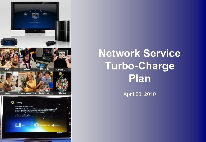 Play Listen Watch Learn Communicate Discover Create Share Network Service Turbo-Charge Plan April 20,