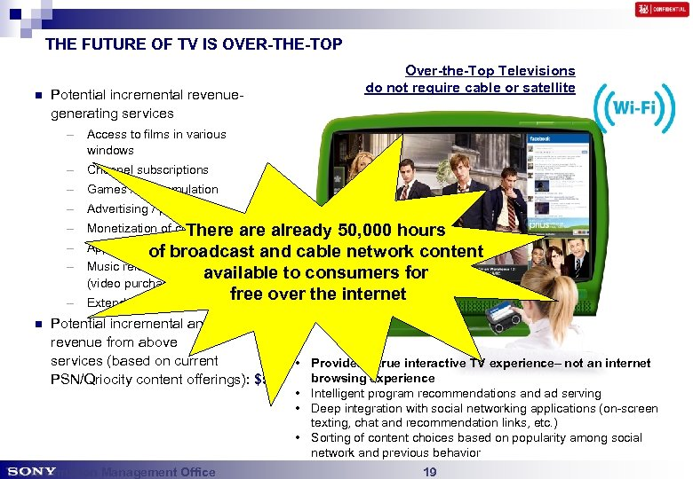 THE FUTURE OF TV IS OVER-THE-TOP n Potential incremental revenuegenerating services Over-the-Top Televisions do