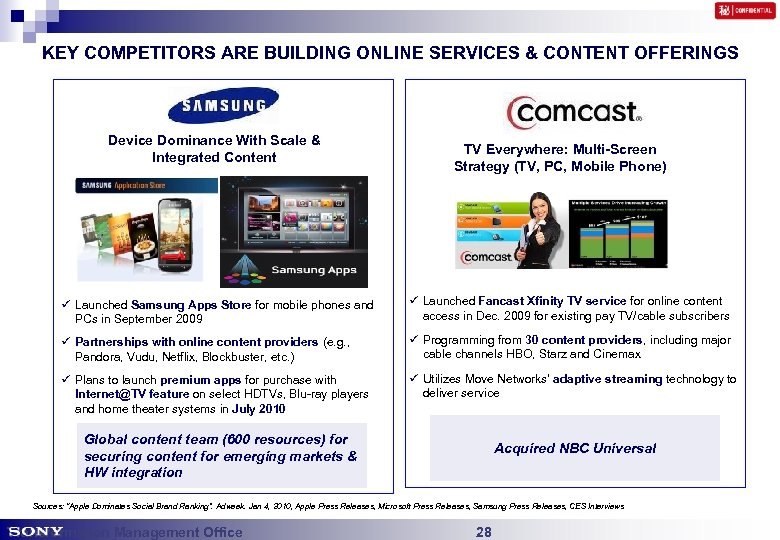 KEY COMPETITORS ARE BUILDING ONLINE SERVICES & CONTENT OFFERINGS Apple 'Mega digital content Scale