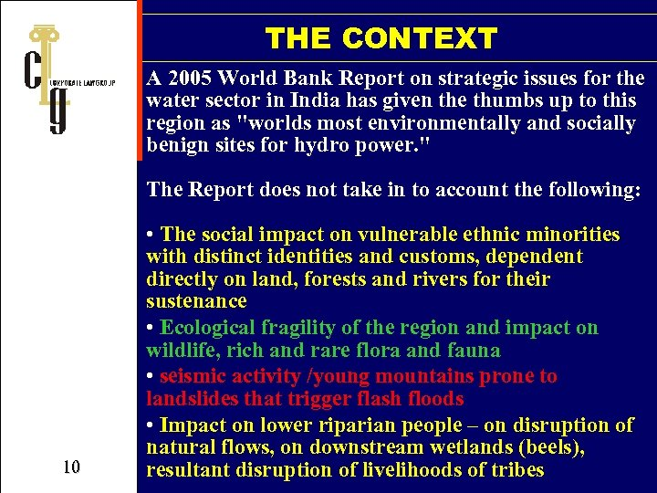 THE CONTEXT A 2005 World Bank Report on strategic issues for the water sector
