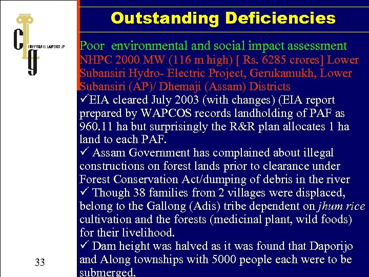 Outstanding Deficiencies Poor environmental and social impact assessment 33 NHPC 2000 MW (116 m