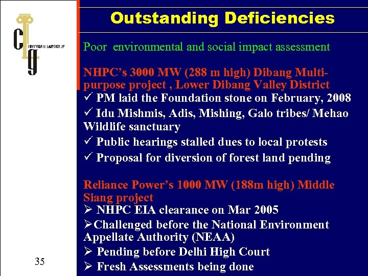 Outstanding Deficiencies Poor environmental and social impact assessment NHPC's 3000 MW (288 m high)