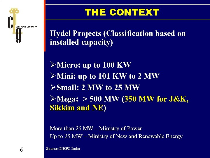 THE CONTEXT Hydel Projects (Classification based on installed capacity) ØMicro: up to 100 KW