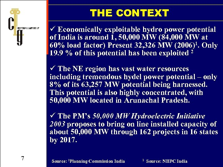 THE CONTEXT ü Economically exploitable hydro power potential of India is around 1, 50,
