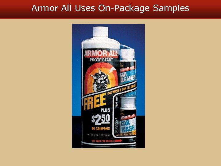 Armor All Uses On-Package Samples