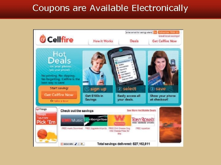 Coupons are Available Electronically