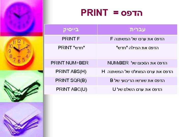 הדפס = PRINT עברית בייסיק הדפס את ערכו של המשתנה F PRINT F