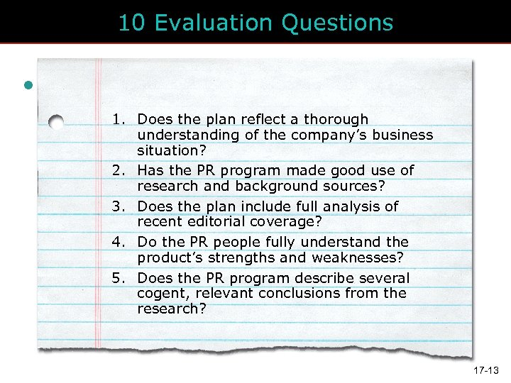 10 Evaluation Questions • Click to add text • Second Does the plan reflect