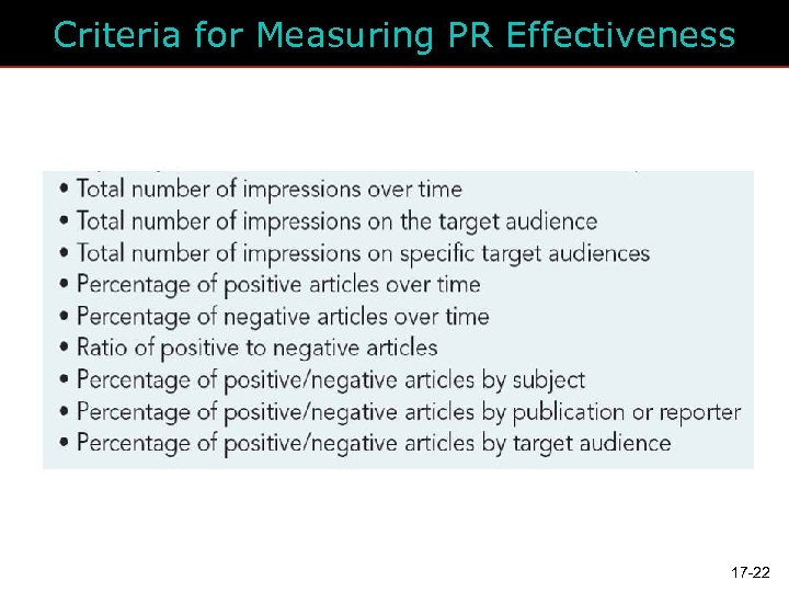 Criteria for Measuring PR Effectiveness 17 -22