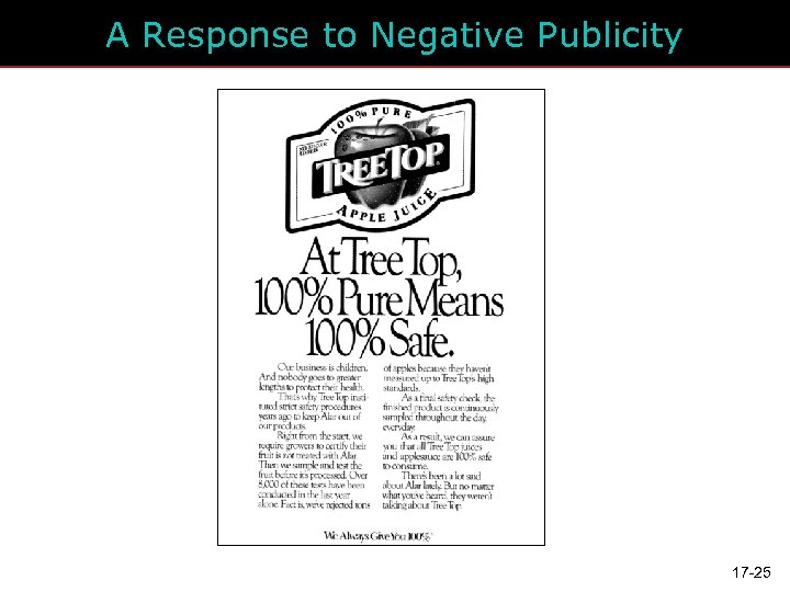 A Response to Negative Publicity 17 -25
