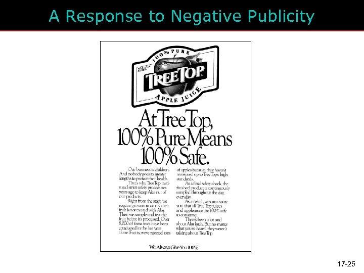 A Response to Negative Publicity 17 -25