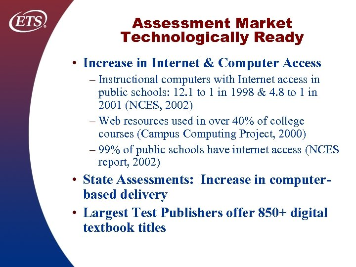 Assessment Market Technologically Ready • Increase in Internet & Computer Access – Instructional computers