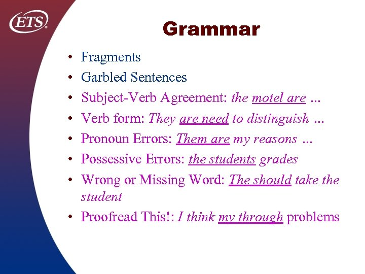 Grammar • • Fragments Garbled Sentences Subject Verb Agreement: the motel are … Verb