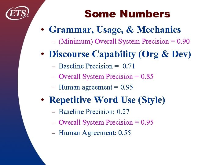 Some Numbers • Grammar, Usage, & Mechanics – (Minimum) Overall System Precision = 0.