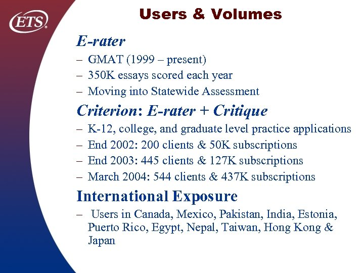 Users & Volumes E-rater – GMAT (1999 – present) – 350 K essays scored