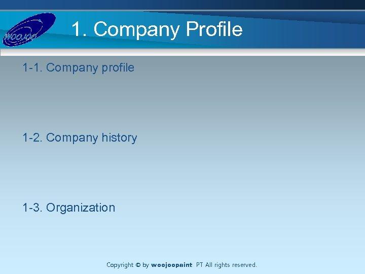 1. Company Profile 1 -1. Company profile 1 -2. Company history 1 -3. Organization