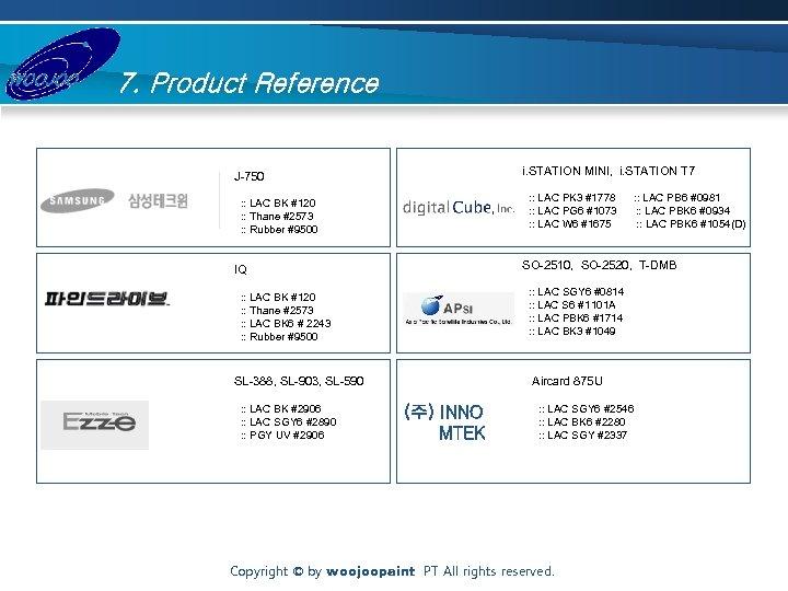 7. Product Reference i. STATION MINI, i. STATION T 7 J-750 : : LAC