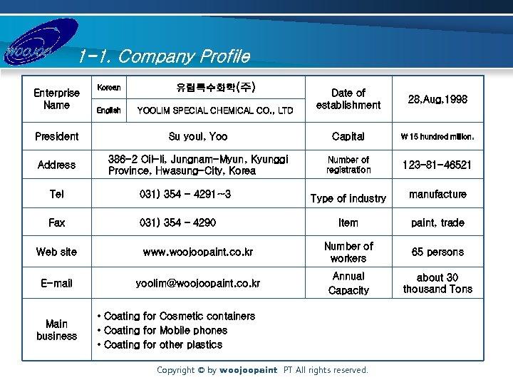 1 -1. Company Profile Enterprise Name Korean 유림특수화학(주) English YOOLIM SPECIAL CHEMICAL CO. ,