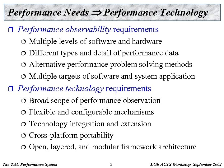 Performance Needs Performance Technology r Performance observability requirements ¦ ¦ r Multiple levels of
