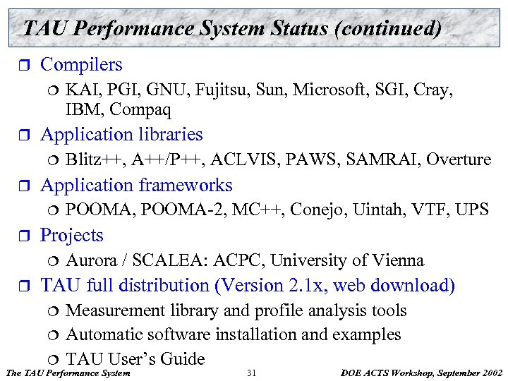 TAU Performance System Status (continued) r Compilers ¦ r Application libraries ¦ r POOMA,
